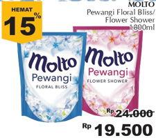 Promo Harga MOLTO Pewangi Blue, Pink 1800 ml - Giant