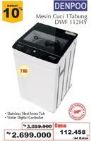 Promo Harga DENPOO DWF-112HY | Washing Machine Top Load 7kg  - Giant
