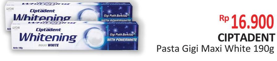 Promo Harga CIPTADENT Pasta Gigi Maxi White 190 gr - Alfamidi