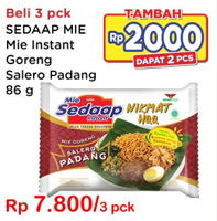 Promo Harga SEDAAP Mie Goreng Salero Padang per 3 pcs 86 gr - Indomaret