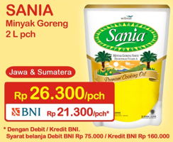 Promo Harga SANIA Minyak Goreng 2000 ml - Indomaret