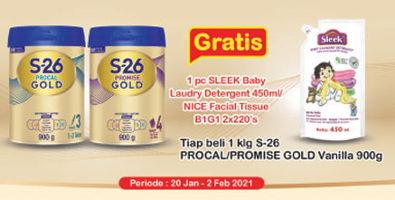 Promo Harga S26 S26 Procal Gold Susu Pertumbuhan/Promise Gold Susu Pertumbuhan 900gr  - Indomaret