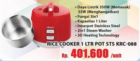 Promo Harga KIRIN Rice Cooker KRC-088  - Hari Hari