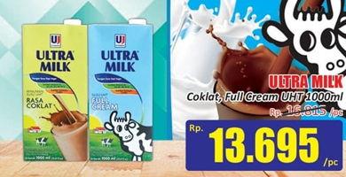 Promo Harga ULTRA MILK Susu UHT Coklat, Full Cream 1000 ml - Hari Hari