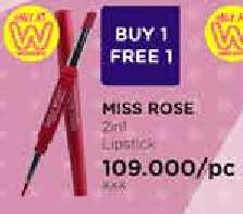 Promo Harga MISS ROSE 2 in 1 Lip Gloss + Lipliner  - Watsons