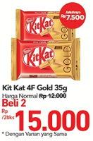Promo Harga KIT KAT Chocolate 4 Fingers Gold per 2 bungkus 35 gr - Carrefour
