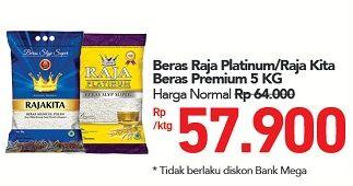 Promo Harga RAJA Raja Platinum/Raja Kita Beras Premium  - Carrefour