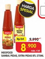 Promo Harga INDOFOOD Sambal Pedas, Ekstra Pedas 275 ml - Superindo