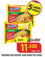 Promo Harga INDOMIE Mi Kuah Kari Ayam per 5 pcs 69 gr - Superindo