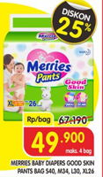 Promo Harga MERRIES Pants Good Skin S40, M34, L30, XL26  - Superindo