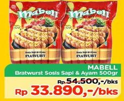 Promo Harga MABELL MABELL Bratwurst Sosis Sapi & Ayam 500 g  - TIP TOP