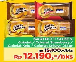 Promo Harga SARI ROTI Roti Manis Sobek Coklat, Strawberry, Coklat Keju, Coklat Srikaya 214 gr - TIP TOP