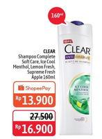 Promo Harga CLEAR Shampoo Complete Soft Care, Ice Cool Menthol, Lemon Fresh, Super Fresh Apple 160 ml - Alfamidi