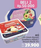 Promo Harga AICE Ice Cream Alpukat Strawberry 800ml / Dessert Mochi 10s  - LotteMart
