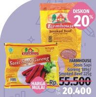Promo Harga FARMHOUSE Sosis Sapi Goreng 189gr / Smoked Beef 225gr  - LotteMart