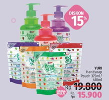 Promo Harga YURI Hand Soap Pouch 375/410ml  - LotteMart