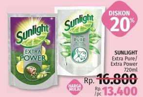 Promo Harga SUNLIGHT Pencuci Piring Extra Pure Ekstrak Aloe Vera Garam Mineral, Extra Power Butiran Biji Zaitun 720 ml - LotteMart