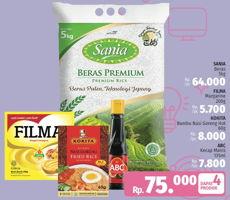 Promo Harga SANIA SANIA Beras 5kg + FILMA Margarin 200gr + KOKITA Bumbu Nasi Goreng Hot 60gr + ABC Kecap Manis 135ml  - LotteMart