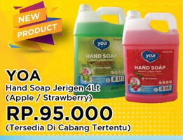 Promo Harga YOA Hand Soap Apel, Strawberry 4 ltr - Yogya