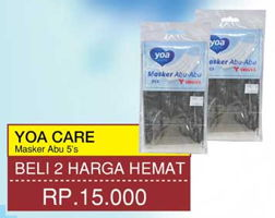 Promo Harga YOA Masker Abu-Abu per 2 pouch 5 pcs - Yogya
