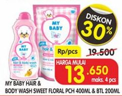 Promo Harga MY BABY MY BABY Hair & Body Wash Sweet Floral pch 400 mL & botol 200 mL  - Superindo