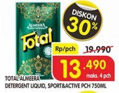 Promo Harga TOTAL Detergent Liquid Almeera Green, Sport Active 750 ml - Superindo