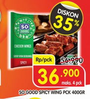 Promo Harga SO GOOD Spicy Wing 400 gr - Superindo