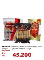 Promo Harga KEMFOOD Beef Burger/  Beef Wiener/ Bockwurst Natural 340 gr - Carrefour