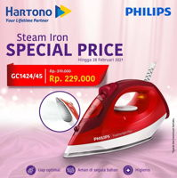 Promo Harga PHILIPS GC1424/45 Steam Iron with Non-stick Soleplate  - Hartono