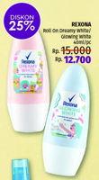 Promo Harga REXONA Deo Roll On Dreamy White, Glowing White 40 ml - LotteMart
