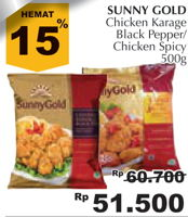 Promo Harga SUNNY GOLD Chicken Karaage Blackpapper, Hot Spicy 500 gr - Giant