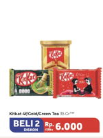 Promo Harga KIT KAT Chocolate 4 Fingers Gold, Original, Green Tea per 2 bungkus 35 gr - Carrefour