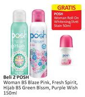 Promo Harga POSH POSH Body Spray Blaze Pink/Fresh Spirit / Hijab Green Blossom/Purple Wish 150ml  - Alfamart