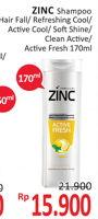 Promo Harga ZINC Shampoo Hair Fall, Refreshing Cool, Men Active Cool, Soft Shine, Clean Active, Active Fresh 170 ml - Alfamidi