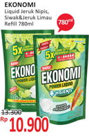 Promo Harga EKONOMI Pencuci Piring Power Liquid Jeruk Nipis, Siwak 780 ml - Alfamidi