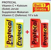 Promo Harga PROTECAL Protecal Vitamin C + Kalsium (Solid) Jeruk/ Defense  - Indomaret