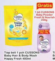 Promo Harga CUSSONS BABY Hair & Body Wash Happy Fresh 400 ml - Indomaret