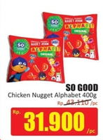 Promo Harga SO GOOD Chicken Nugget Alphabet 400 gr - Hari Hari