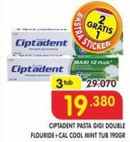 Promo Harga CIPTADENT Pasta Gigi Double Flouride+Cal Cool per 3 pcs 190 gr - Superindo