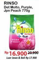 Promo Harga RINSO Anti Noda Detergent Bubuk + Molto Purple Perfume Essence, + Molto Japanese Peach 770 gr - Alfamart