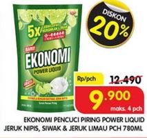 Promo Harga EKONOMI Pencuci Piring Power Liquid Jeruk Nipis, Siwak 780 ml - Superindo