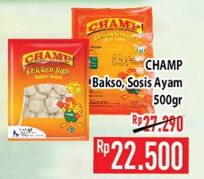 Promo Harga CHAMP CHAMP Bakso Ayam/Sosis Sapi 500gr  - Hypermart