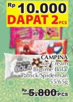 Promo Harga CAMPINA 2 Campina Ice Cream Bigtime Bola/ Patrick/ Spiderman  - Giant