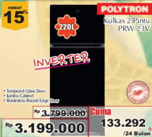 Promo Harga POLYTRON Kulkas 2 Pintu PRW23V  - Giant