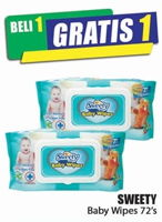 Promo Harga SWEETY Baby Wipes Non Perfumed 72 pcs - Hari Hari