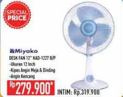 Promo Harga MIYAKO KAD-1227 | Fan 45 Watt B, P  - Hypermart