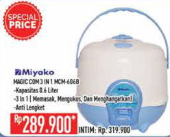 Promo Harga MIYAKO MCM-606 B Magic Com  - Hypermart