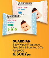Promo Harga GUARDIAN Baby Wipes Fragrance Free, Scented 20 pcs - Guardian