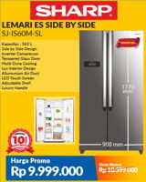 Promo Harga SHARP SJ-IS60 | Side by Side Refrigerator  - Courts