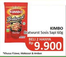 Promo Harga KIMBO Bratwurst Sosis Sapi per 2 pouch 60 gr - Alfamidi